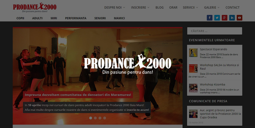 Web design scoala de dans Prodance2000