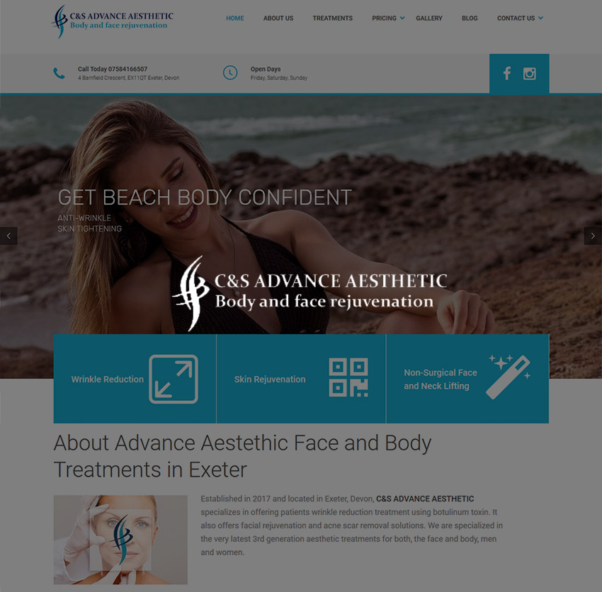 Web Design site intretinere corporala CS Advance Aesthetic